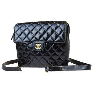 CHANEL CC Chain Backpack Bag Patent Leather Black